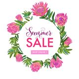 Bandera floral de la venta del verano Descuento estacional stock de ilustración