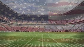 Bandera flotante americana contra estadio profesional ilustración del vector
