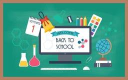 Bandera, fondo, cartel de la escuela e iconos de la educación De nuevo a escuela Diseño plano Fotografía de archivo libre de regalías