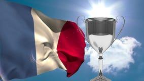 bandera francesa al lado del trofeo el día soleado stock de ilustración