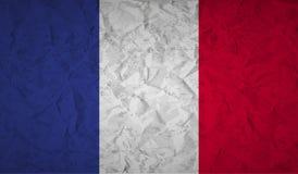 Bandera francesa con el efecto del papel arrugado y del grunge stock de ilustración
