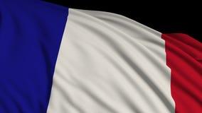 Bandera francesa en la cámara lenta La bandera se convierte suavemente en el viento libre illustration