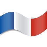 Bandera francesa que agita o tricolor francés con una sombra hecha en un estilo plano aislado Foto de archivo libre de regalías