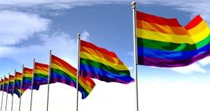 Bandera gay, bandera de LBGT, animación de la bandera 3D del arco iris con la pantalla verde stock de ilustración
