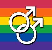 Bandera gay con el símbolo masculino Imagenes de archivo