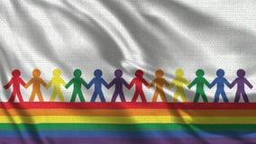 Bandera gay del arco iris con el fondo humano del blanco de la silueta stock de ilustración