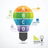 Bandera geométrica de las bombillas de la plantilla de Infographic  stock de ilustración
