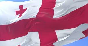 Bandera georgiana que agita en el viento en lento en el cielo azul, lazo libre illustration
