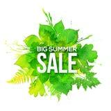 Bandera grande de la venta del verano del follaje verde de la acuarela libre illustration