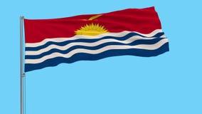 Bandera grande del aislante del paño de Kiribati en una asta de bandera, cantidad de los prores 4k, transparencia alfa ilustración del vector