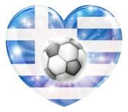 Bandera griega del corazón del fútbol Imagen de archivo libre de regalías