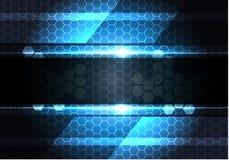Bandera gris oscuro abstracta en vector moderno del fondo de la tecnología del diseño de la luz de la malla del hexágono Fotos de archivo