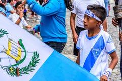 Bandera guatemalteca, Día de la Independencia, Antigua, Guatemala fotos de archivo