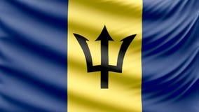 Bandera hermosa realista 4k de Barbados ilustración del vector