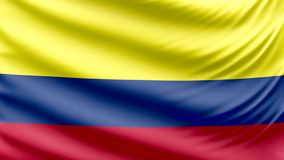 Bandera hermosa realista 4k de Colombia stock de ilustración