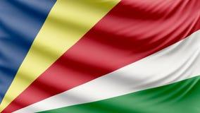 Bandera hermosa realista 4k de Seychelles almacen de video