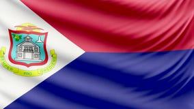 Bandera hermosa realista 4k de Sint Maarten almacen de video
