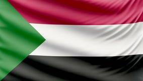 Bandera hermosa realista 4k de Sudán almacen de metraje de vídeo