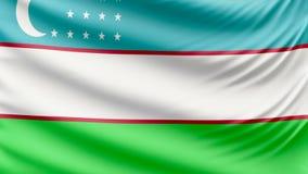 Bandera hermosa realista 4k de Uzbekistán metrajes