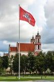 Bandera histórica del estado de Lituania en el cuadrado de Lukiskes con la iglesia de St Philipp y de St Jacobo en fondo imagen de archivo libre de regalías