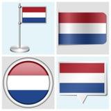 Bandera holandesa - el sistema de la etiqueta engomada, botón, etiqueta a Foto de archivo