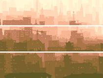 Bandera horizontal abstracta de la ciudad grande en puesta del sol. Imágenes de archivo libres de regalías