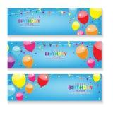 Bandera horizontal azul Editable del feliz cumpleaños con el sistema de la decoración del globo y del confeti Fotos de archivo libres de regalías