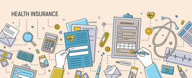 Bandera horizontal con las manos que completan los documentos del seguro médico rodeados por los formularios de papel, medicacion ilustración del vector