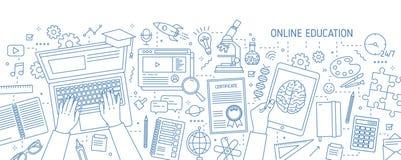Bandera horizontal con las manos que mecanografían en el ordenador y los diversos materiales de oficina dibujados con las líneas  stock de ilustración