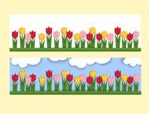 Bandera horizontal con los tulipanes de papel Foto de archivo libre de regalías