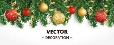 Bandera horizontal de la Navidad con la guirnalda del árbol de abeto, las bolas colgantes y las cintas ilustración del vector