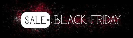 Bandera horizontal de la promoción del concepto del descuento del día de fiesta del mensaje de la etiqueta de la venta de Black F Imagen de archivo