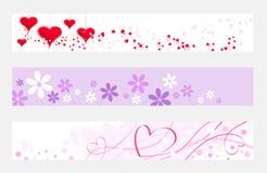 Bandera horizontal de la tarjeta del día de San Valentín Fotos de archivo libres de regalías