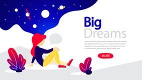 Bandera horizontal de los sueños grandes para su sitio web stock de ilustración