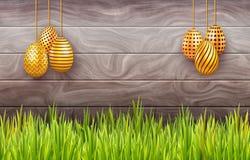 Bandera horizontal de Pascua con los huevos adornados de la ejecución en fondo de madera con el espacio de la copia libre illustration