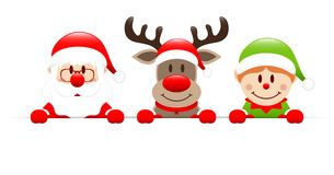 Bandera horizontal de Santa Claus Reindeer And Elf Holding stock de ilustración