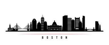 Bandera horizontal del horizonte de la ciudad de Boston
