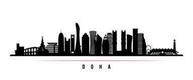 Bandera horizontal del horizonte de la ciudad de Doha stock de ilustración