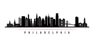 Bandera horizontal del horizonte de la ciudad de Philadelphia stock de ilustración