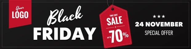 Bandera horizontal del web de la venta negra de viernes Fotos de archivo libres de regalías