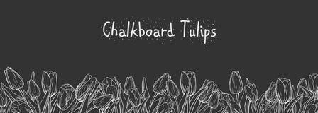 Bandera horizontal plana con los tulipanes en fondo de la pizarra ilustración del vector