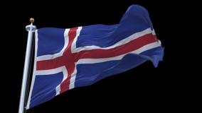 bandera inconsútil de 4k Islandia que agita en viento Canal alfa incluido ilustración del vector