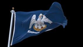 bandera inconsútil del estado de 4k Luisiana los E.E.U.U. que agita en viento Canal alfa incluido ilustración del vector