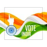 Bandera india del tri color con la mano de votación libre illustration