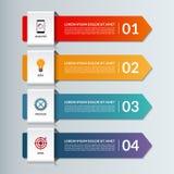 Bandera infographic de las opciones del vector con 4 flechas Imágenes de archivo libres de regalías