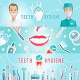 Bandera infographic del web de la higiene médica de los dientes stock de ilustración
