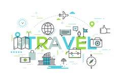 Bandera infographic moderna con los elementos en la línea estilo fina Viaje y aventúrese la industria de turismo, servicios turís stock de ilustración
