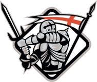 Bandera inglesa de Fighting Sword England del caballero retra ilustración del vector