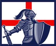 Bandera inglesa de Holding Sword England del caballero retra Fotografía de archivo