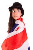 Bandera inglesa de la muchacha aislada en el fondo blanco Foto de archivo libre de regalías